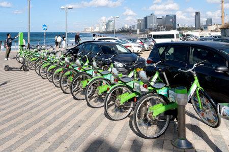 TEL AVIV, ISRAEL- December 2, 2019. Bike rental on Tel Aviv waterfront