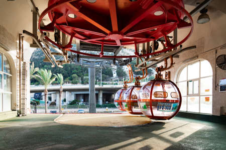 Haifa, Israel -November 28, 2019: Cable car lower station with departing cabins Editorial
