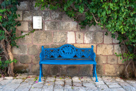 TEL AVIV, ISRAEL - December 2, 2019: Beautiful blue carved bench near an ancient wall surrounded by shrubbery branches with green leaves