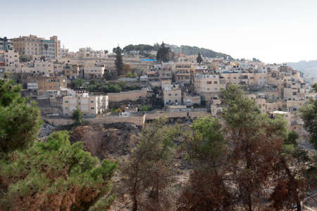 View of the arabian district on the hillside of Mount of Olives in Jerusalem, Israel.