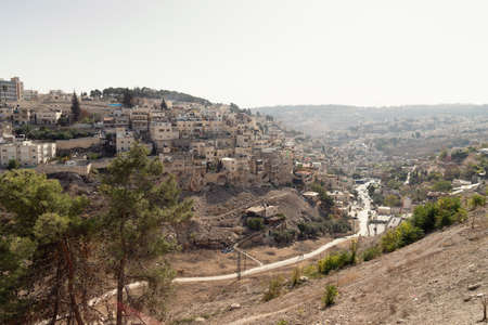 View of the Arab district on the hillside of Mount of Olives in Jerusalem, Israel.