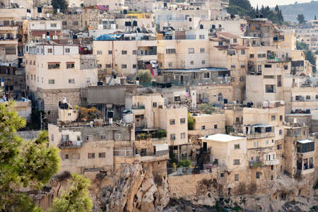 View of houses of the arabian village on the hillside of Mount of Olives in Jerusalem, Israel.