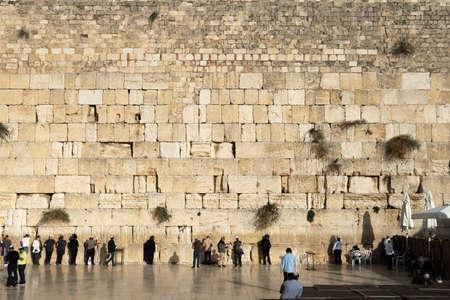 JERUSALEM, ISRAEL - November 26, 2019: A lot of people standing near the Wailing wall in Jerusalem