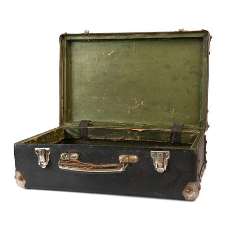 Old open suitcase isolated on the white background Standard-Bild