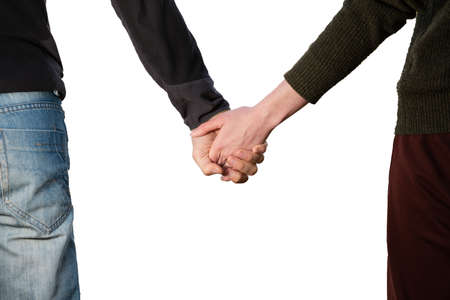 Young caucasian couple hold hands isolated on white Zdjęcie Seryjne