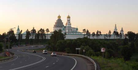 Moscow region, Russia-June 19, 2021. New Jerusalem monastery panoramic view in summer evening Publikacyjne