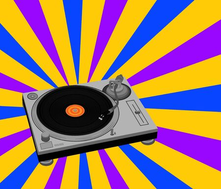 Vector illustration of DJ turntable. Vector