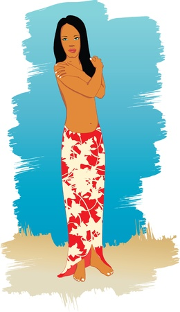 An illustration of a girl on the beach wearing a floral sarong. Illustration