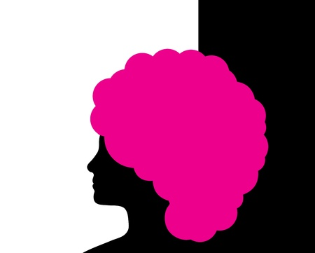 side profile: Woman with pink hair