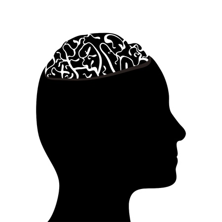 Silhouetted head and brain Stock Vector - 11649412