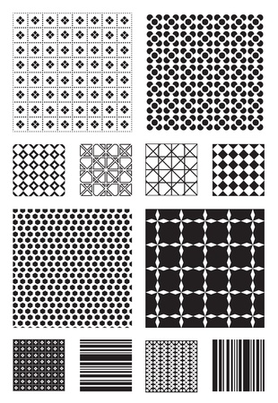 12 Black and White Vector Patterns that tiles seamlessly. Vector