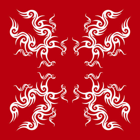 Red and white tribal design Illustration