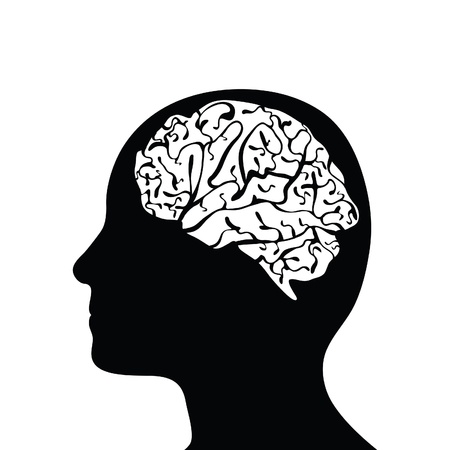 Silhouetted head and brain Vector