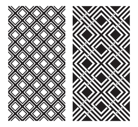 geometric design: Two Black and White Patterns that tiles seamlessly.  Illustration