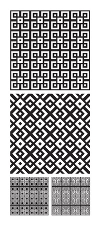 pattern geometric: Four patterns that tiles seamlessly.