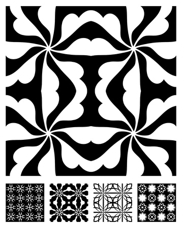 geometry: 5 Black and White Vector Patterns that tiles seamlessly.