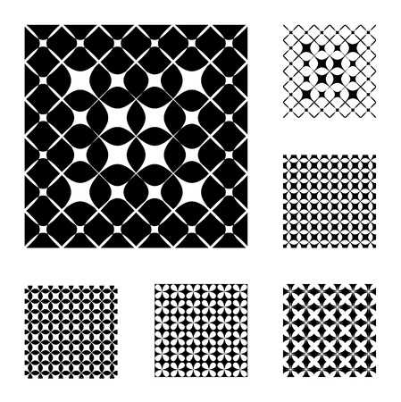 6 Black and White Patterns that tiles seamlessly. Vector