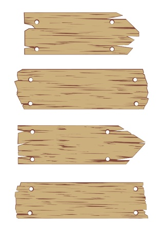 Illustration of Wooden Sign on White Background.