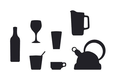 silhouetted:  Beverage container silhouettes Illustration