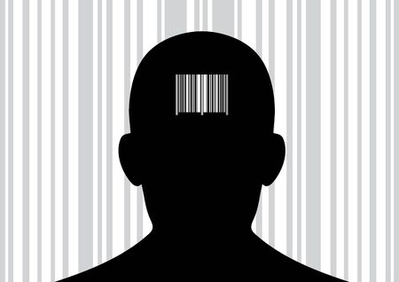 back of head: Back of head with printed barcode on it.