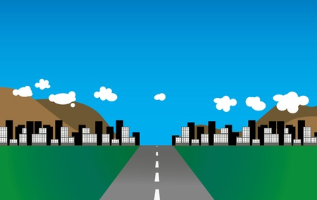 Illustration of a road leading to a city.