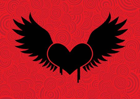 Illustration of a winged heart... Vector