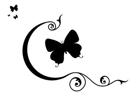 Ilustración - Mariposas y elementos decorativos.