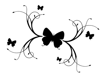 Illustration - Butterflies and Branches. Vector