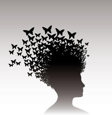 femme papillon: Illustration Vecteur de la t�te d'une femme avec des papillons sur elle. Illustration