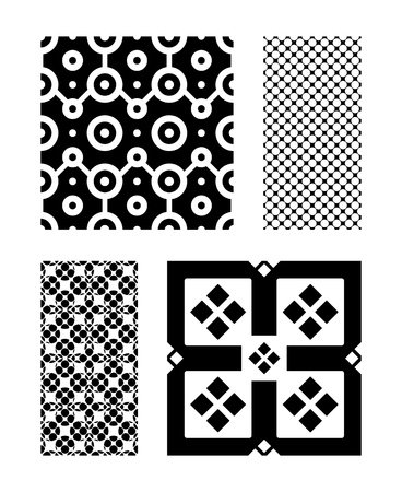 Four Black and White Vector Patterns that tiles seamlessly.