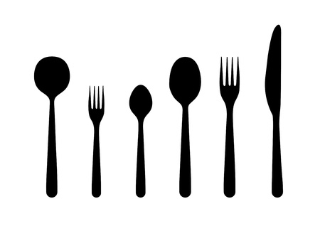 Illustration of a knife, two forks and three spoons.