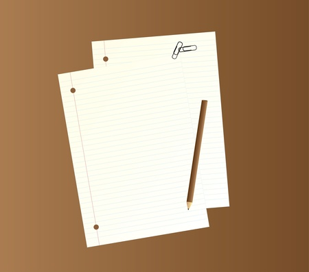 paper fastener: illustration of two writing papers, a pencil and two paper clips.
