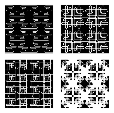 Four Black and White Vector Patterns tiles seamlessly. Vector