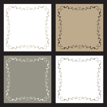 A set of four backgrounds with squiggly line borders.