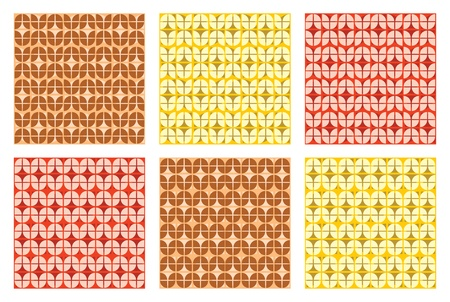 Three different variation of colors of two similar pattern design that tiles seamlessly.