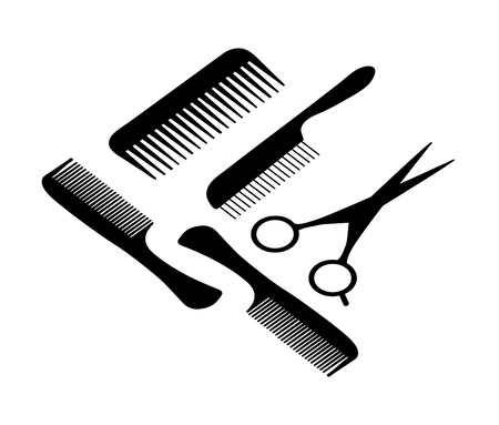 Vector illustration of a hair scissors and four combs.