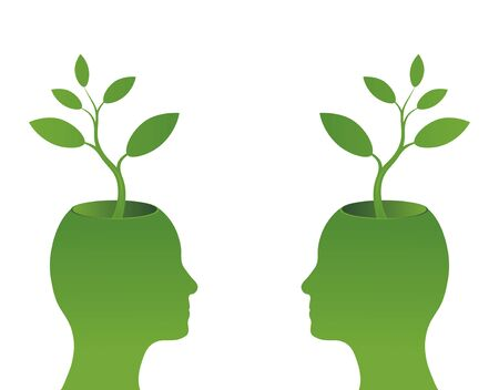 Illustration of two human heads with green plant growing from hole in skull, isolated on white background.