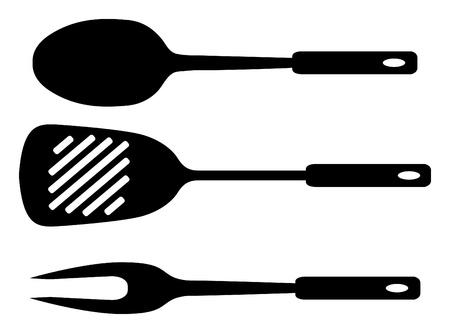 illustration: Spatule, Louche et une fourchette.