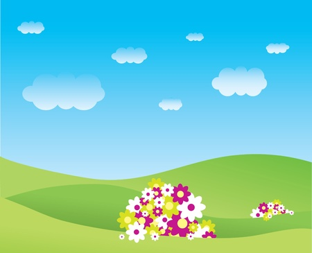Illustration of a serene scene with flowers on grassy hills, blue skies and fluffy clouds. Illustration