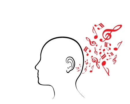 A metaphorical illustration of a blank human face with musical symbols entering his ear, isolated on a white background. Illustration