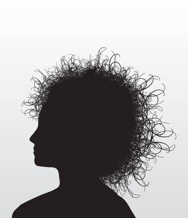 Illustration of the head of a woman with wild hair.