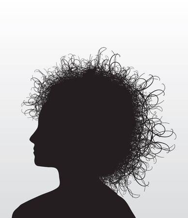 wild hair: Illustrazione della testa di una donna con i capelli arruffati.