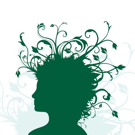 illustration of green human head in silhouette with plants growing from hair. Vector
