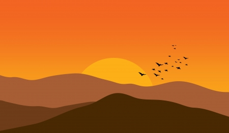 Illustration - Mountains at sunset... Vector
