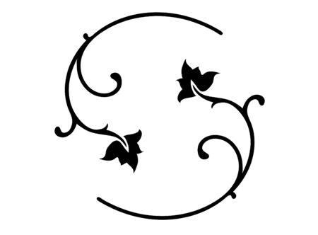 Ilustración-Negro adornos florales. Ilustración de vector