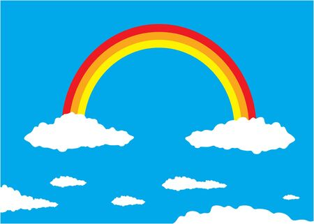 Illustration - Rainbow and Clouds. Vector