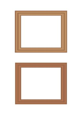 Illustration of two rectangular wooden picture frames in different shades with copy space, isolated on white background.
