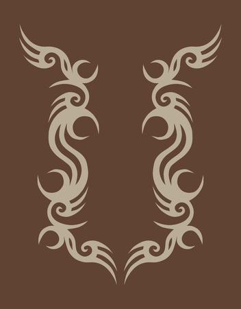 Tribal tattoo design on brown.