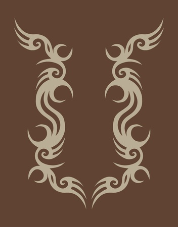 Tribal tattoo design on brown.