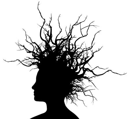 Illustration Vecteur de la tête d'une femme avec des branches dans les cheveux.